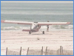 Plane lands on beach
